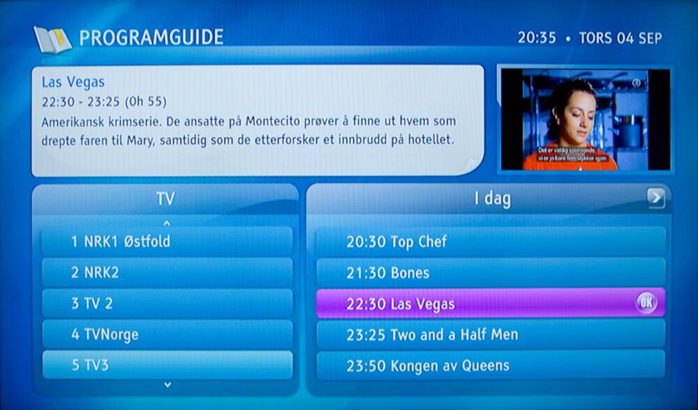 EPG: Programguiden fungerer greit, men gir ikke den store oversikten over TV-kvelden på alle kanaler.