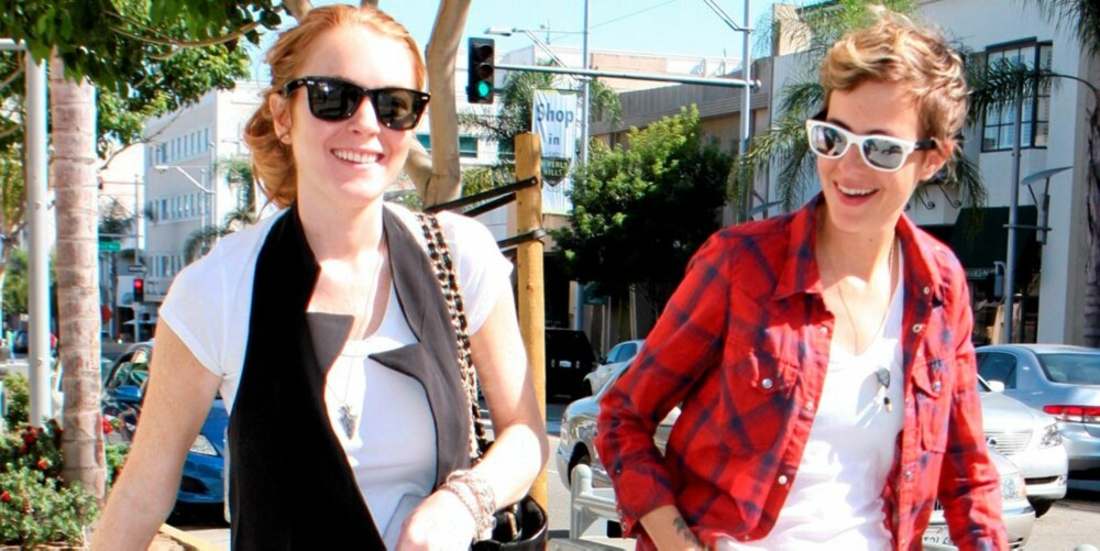 LYKKELIGE: Lindsay er lykkeligere enn hun har vært noen gang sammen med sin lesbiske kjæreste Samantha.