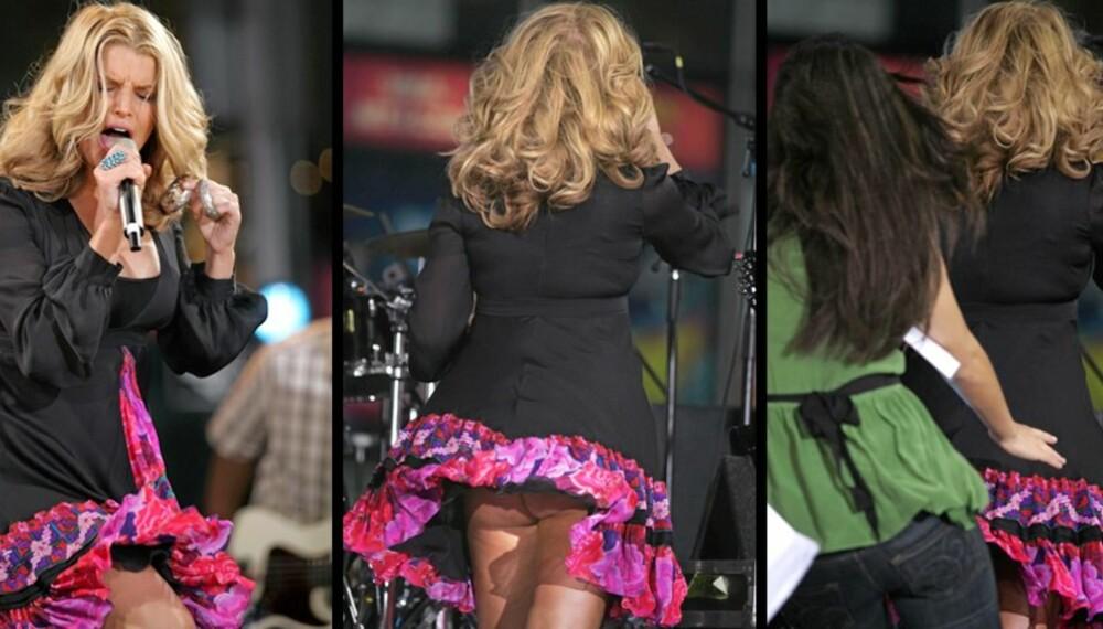 TATT AV VINDEN: Jessica Simpson blottet stumpen da et vindkast fikk skjørtet på kjolen hennes til å lette.