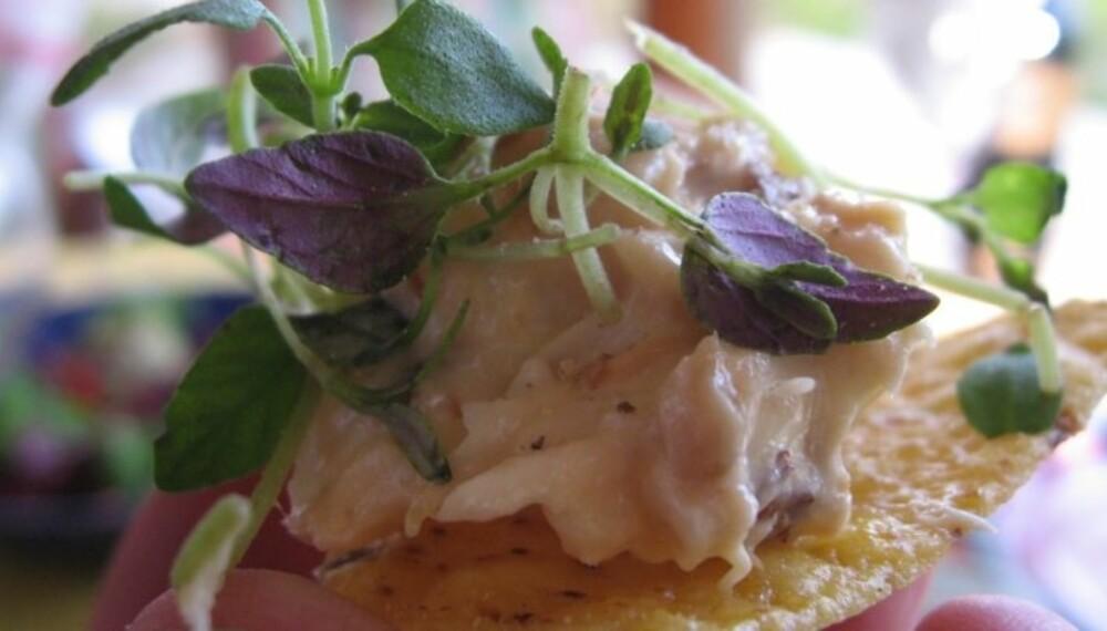 ENKELT OG GODT av røkt ørret. Istedenfor chips kan du legge fiskemosen på toast, eller rulle blandingen inn i lefser eller lomper. (Foto: Yngve Ask)