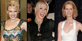 OVERLEVDE: Kylie, Anastacia og Cynthia har alle overlevd brystkreft.