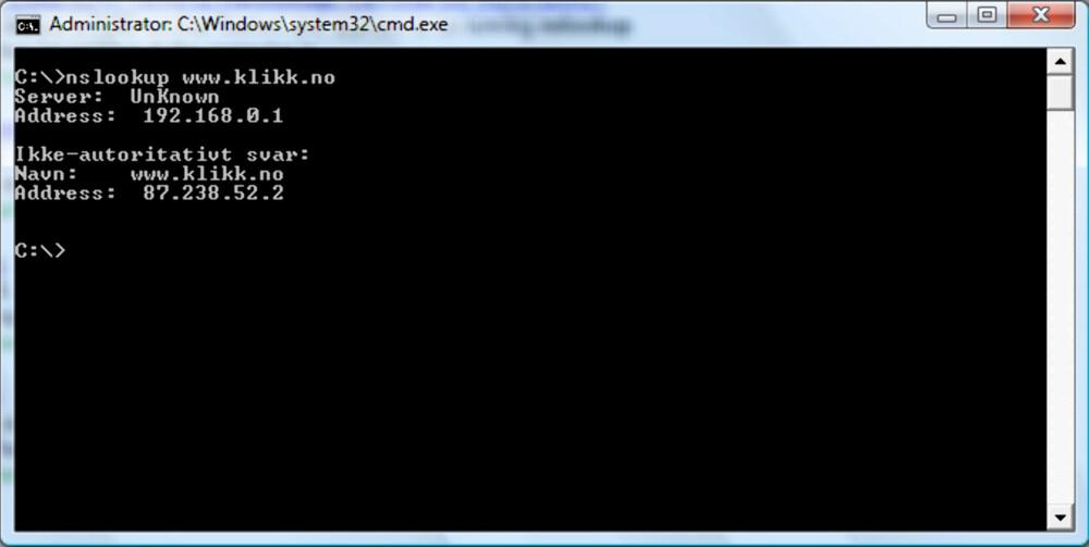 SNAKK MED DNS-SERVEREN:: Ved å trykke «windowsknapp + r» og skrive «cmd» kommer man inn i kommandolinjen til Windows. Her kan man skrive «nslookup nettadresse» for å se hvilken IP-adresse som skjuler seg bak.