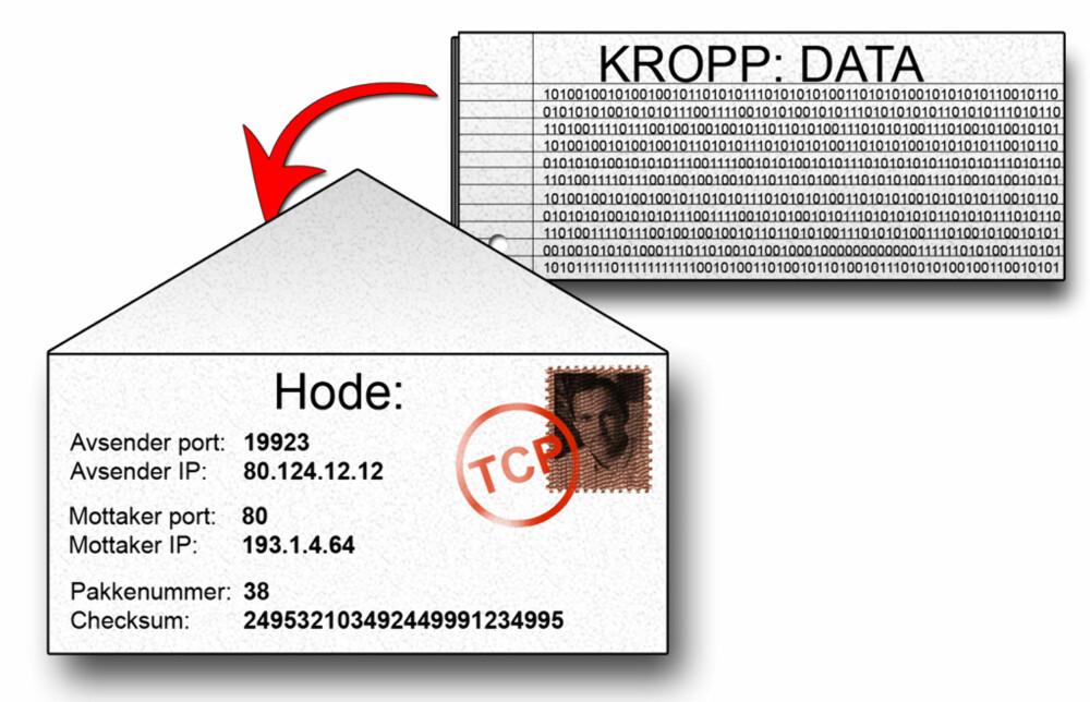 DETTE ER EN PAKKE: En TCP-pakke består av en kropp som er selve innholdet og et hode som forteller hvor og hva pakken inneholder. Se på kroppen som et brev og hodet som konvolutten. Ruterne er da i så fall postvesenet.