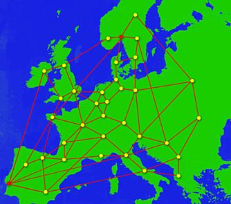 MANGE VEIER TIL MÅLET: Hvis et knutepunkt skulle gå ned, er det fortsatt mange veier fra Oslo til en server i Lisboa. Den raskeste er ikke nødvendigvis den korteste, men den minst trafikkerte.