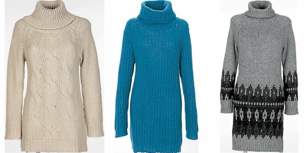 FRA VENSTRE: Off-white flettet ullgenser fra Indiska (kr 399), blå genser med hals fra H&M (kr 298), ullgenser med hals fra Minimum (kr 1199)