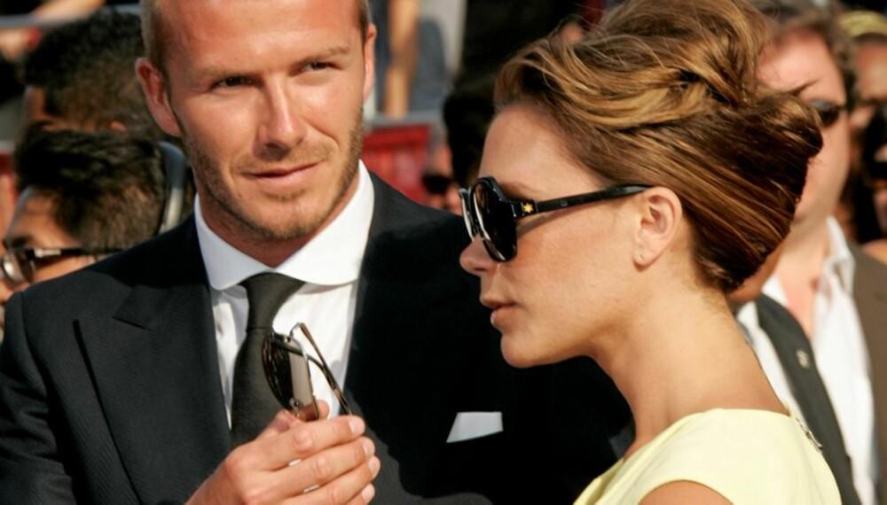 Please, don't stand so close to me. Ikke så rart at David Beckham vil holde avstand til fru Posh.