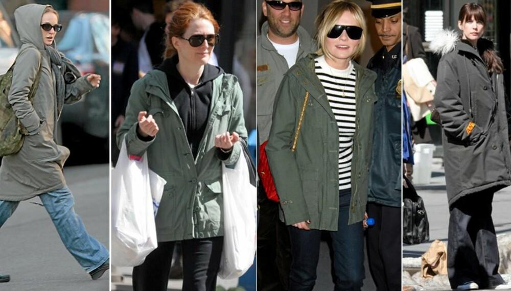 TREND BLAND KJENDISENE: Også jentene i Hollywood elsker jakken. Natalie Portman, Julianne Moore, Kirsten Dusnt og Liv Tyler følger alle trenden.