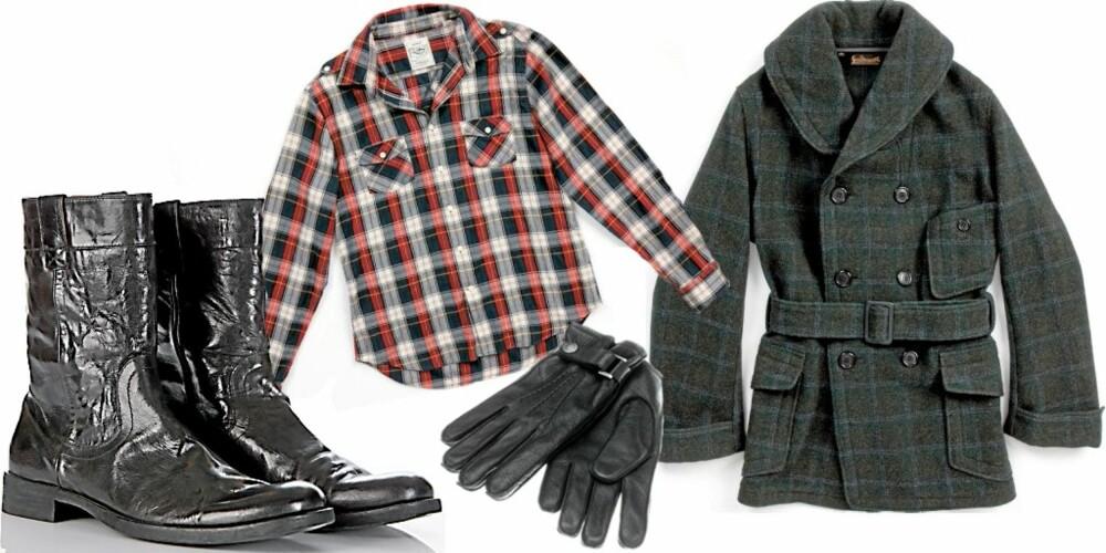 FRA VENSTRE: Støvler fra Vagabond (kr 2199), rutete flanellskjorte fra Gant (kr 900), skinnhansker fra H&M (kr 298), rutete ullkåpe fra Levis Strauss (kr 3299)