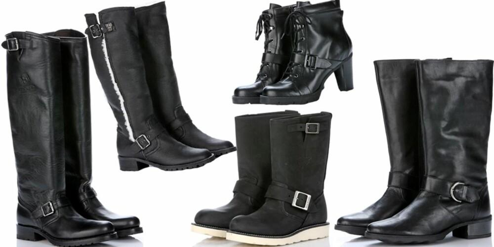 FRA VENSTRE: Knehøye støvler fra Sendra hos Lille Vinkel (kr 2998), støvler med ullfor fra Anna Sui hos Shoe Lounge (kr 5300), støvler fra Red Wings hos Lille Vinkel sko (kr 2400), skolett med snøring fra Din Sko (kr 449), støvler med skaft i middels høyde fra Duo (kr 1290)