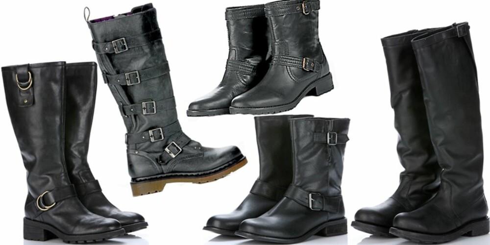 FRA VENSTRE: Støvler med spenner fra Clarks (kr 1599), høye støvler med spenner fra Dr Martens (kr 1899), ankelhøye støvler i skinn fra Mango (kr 999), lave støvler fra Din Sko, (kr 449), kraftige støvler fra Bikkenbergs hos Shoe Lounge (kr 3500)