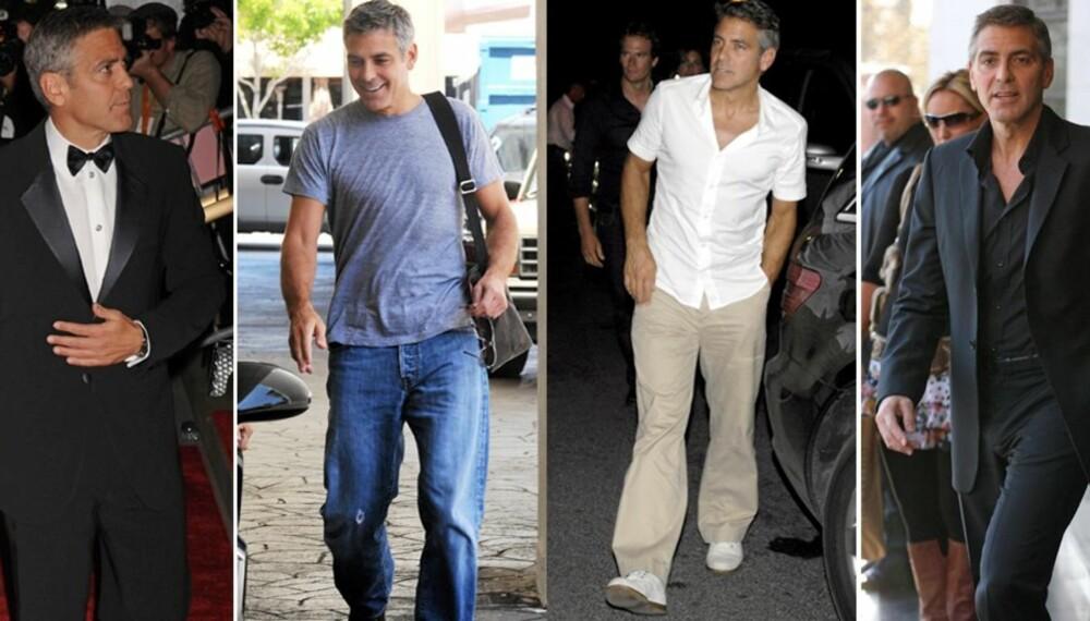 BLANDET STIL: Geroge Clooney har både en klassisk og avslappet klesstil.