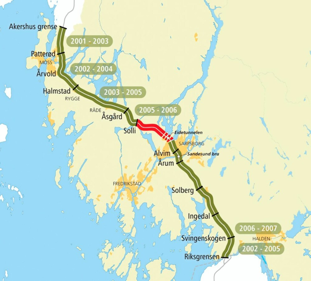 KART: Her er hele E18-strekningen gjennom Østfold. Feltet markert med rødt, i området rundt Eidet-tunnelen, åpner natt til 27. november. Den grønne delen er ferdig.