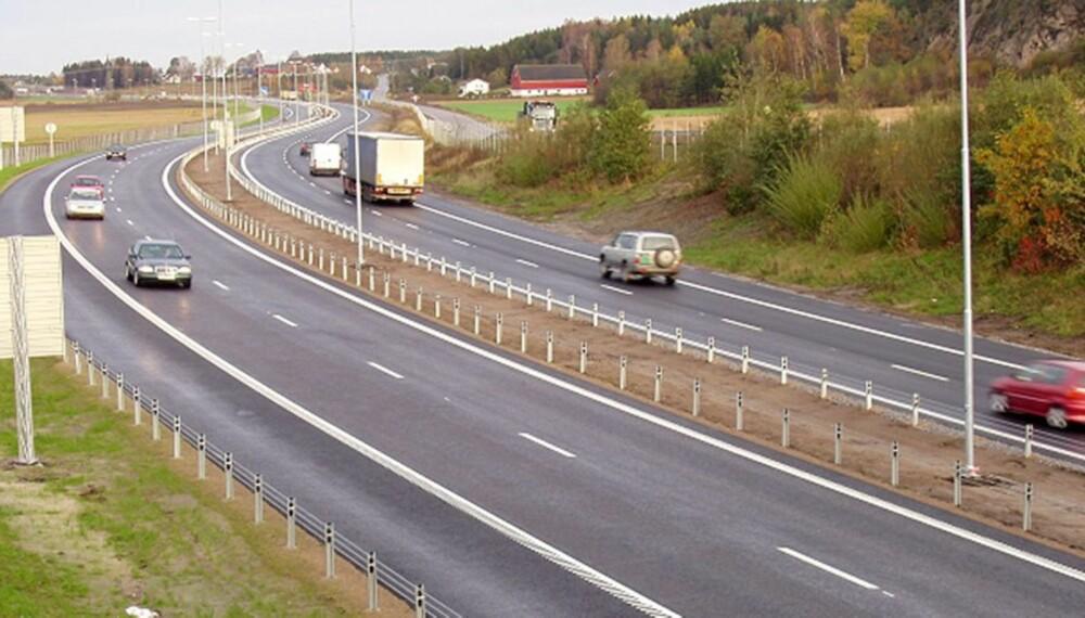 FIRE FELT: Den nye E6-strekningen ved Solli i Østfold.