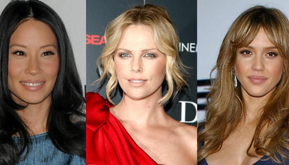FINT HÅR: Stjerner med midtskill. Lucy Liu, Charlize Theron og Jessica Alba pynter seg med midtskill.