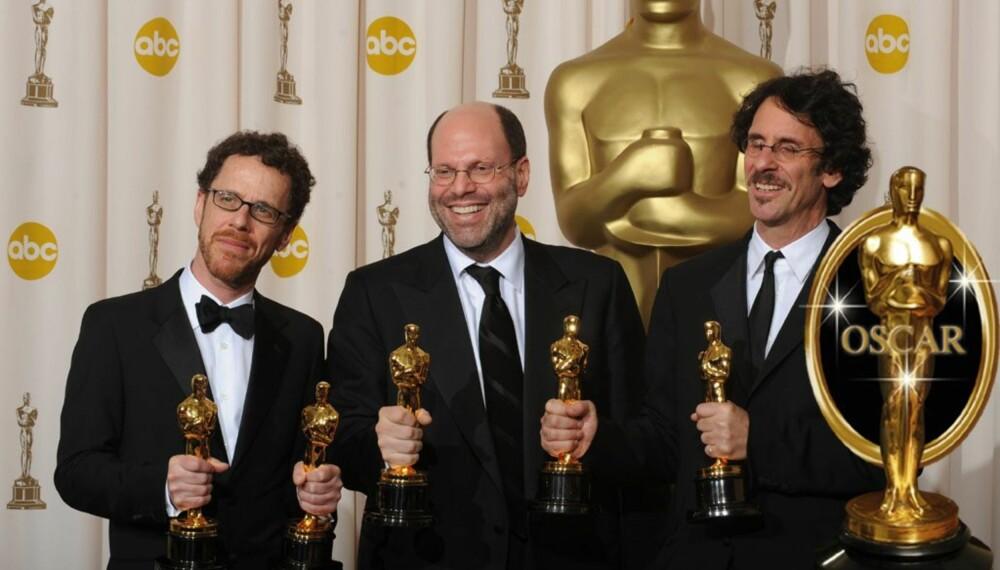 Ethan og Joel Coen sammen med produsent Scott Rudin