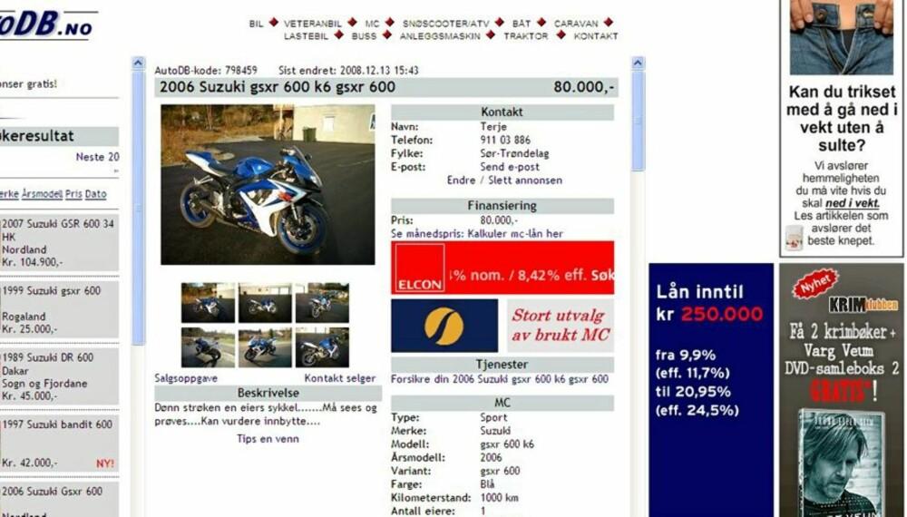 NETTJUKS: Terje Torsen ble utnyttet av svindlere da han skulle selge motorsykkelen sin på AutoDB.no.