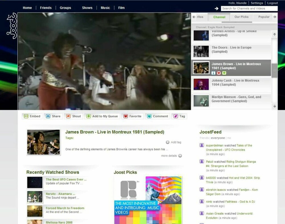 JUKEBOX: Mange av gratis-TV-tjenestene på nettet fungerer mer som videojukebokser, der du kan finne frem gamle musikkopptak og -videoer av for eksempel James Brown.