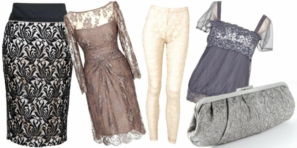 FRA VENSTRE: Skjørt fra Warehouse (kr 749), kjole fra Warehouse (kr 1199), tights fra H&M (kr 149), topp fra Claire (kr 600), veske fra Accessorize (kr 289)
