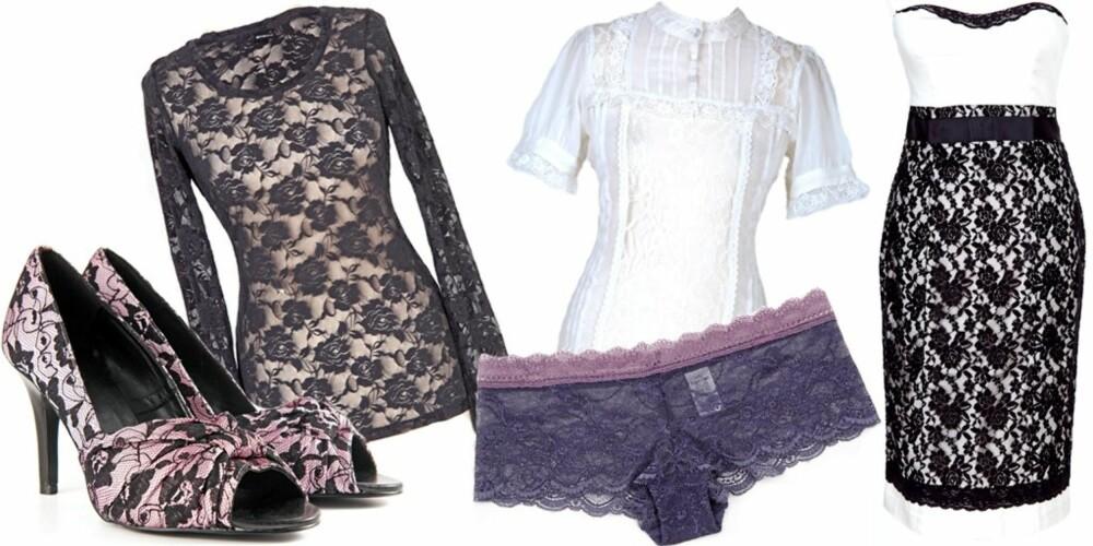 FRA VENSTRE: Sko fra Bianco (kr 500), topp fra Gina Tricot (kr 199), underbukse fra Calvin Klein (kr 299), topp fra Gina Tricot (kr 249), kjole fra Morgan (kr 999)