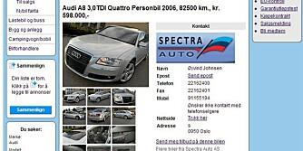 100.000 BIlLIGERE: Noen biler - som for eksempel denne Audi A8-en - er satt ned med så mye som 100.000 det siste året.