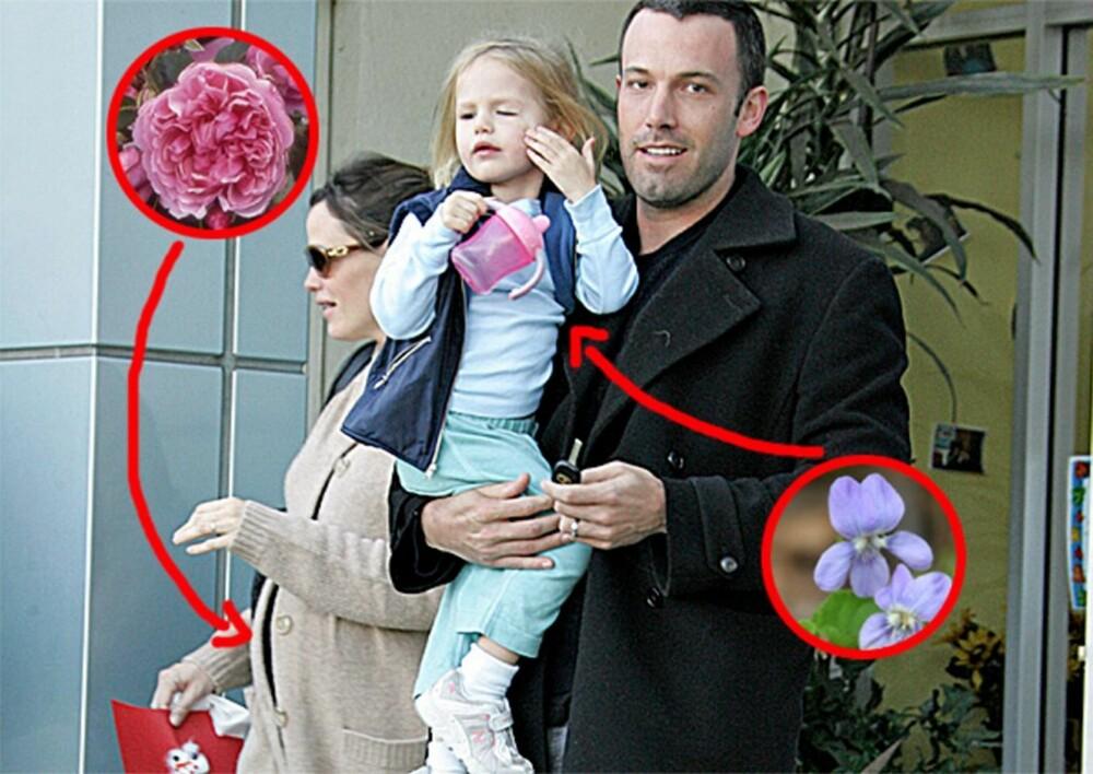 Jennifer Garner og Ben Affleck med datteren Violet. Minstejenta Seraphina Rose Elizabeth var på dette tidspunktet bare en kul på mammas mage.