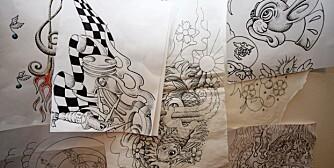 LITT AV HVERT: Tatoveringer er tegninger, festet til hud med nåler og blekk. Hos Kunst med puls liker de å blande stilarter.
