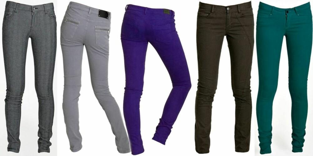 SMAL SAK: Fra venstre: Grå med tynne striper fra Dr. Denim, kr 599. Grå kordfløyel fra Selected Femme, kr 799. Blålilla fra Bikbok, kr 299. Grønnbrun fra H&M, kr 498.