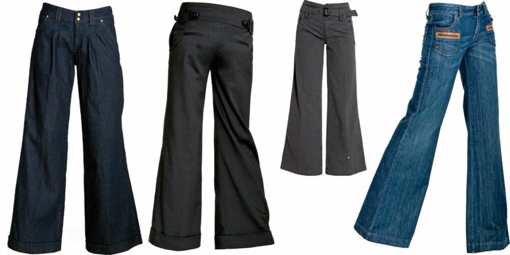 VID I BEINA: Fra venstre: Mørkeblå jeans fra H&M, kr 398. Mørkegrå med knapper fra Rules by Mary, kr 899. Grå med belte fra Replay, kr 1699. Jeans med brune lommer fra Miss Sixty, kr 1399.