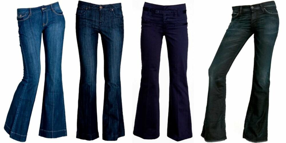 SLENG: Fra venstre: Bukse med press fra Lene V, kr 500. Jeans fra Oasis, kr 649.  Blå med høyt liv, fra Vero Moda, kr 299. Jeans fra Levi's kr 1099.