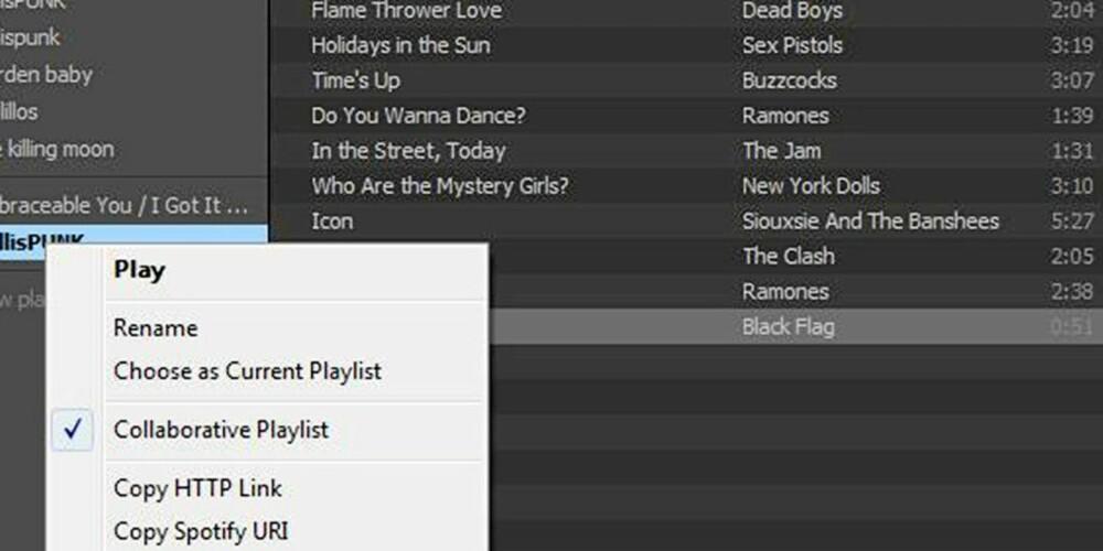 DELE LISTER:  Det ganske enkelt å dele spillelister med Spotify-venner, og det blir sikkert enda enklere etter hvert. Alt du trenger å gjøre er å huke av Collaborative Playlist, kopiere HTTP-lenken og sende den.