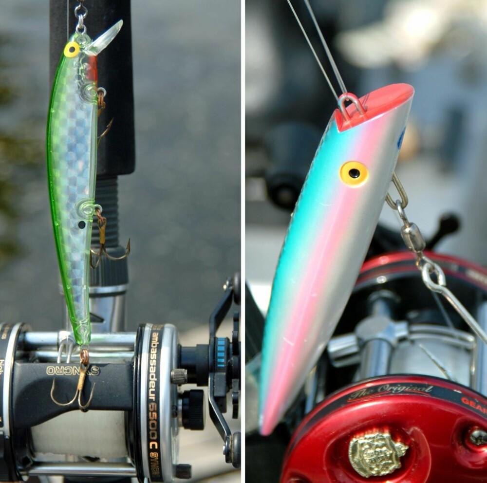 TO BRUKBARE: Krøkla er kanskje den viktigste byttefisken for storørreten i Mjøsa, og Bomber-wobbleren til venstre er en god imitasjon. Tomic til høyre er like populære i Mjøsa som i andre store innsjøer med grov ørret, og dette er en god fargekombinasjon.