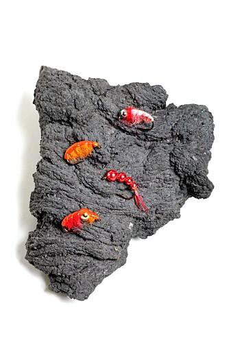 GAMMARUS: Imitasjoner av marflo fisket aller best, og sterke farger pirret åpenbart røyenes nysgjerrighet.