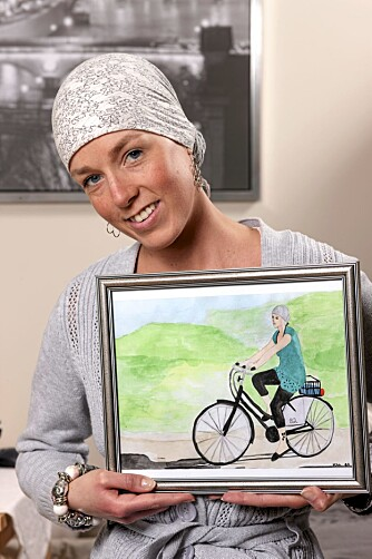 Venninnen Katrine Aasbø, som tidligere var kreftsyk, har malt dette bildet av Maren-Sofie fra en ferietur i Skagen i Danmark.
