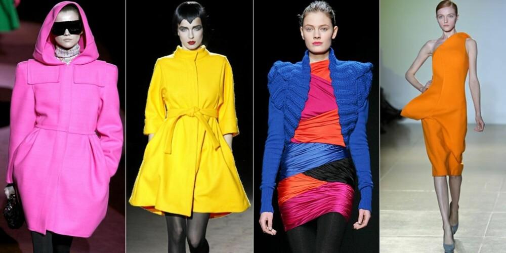 NEON: Knallsterke farger er en stor trend til høsten. Her fra Marc Jacobs, Jeremy Scott, Emanuel Ungaro og Jil Sander sine visninger.