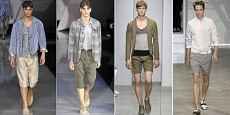 GÅ FOR BEIGE: På catwalken ble det vist fram mange shortser i ulike beige nyanser. Her fra Giorgio Armani, Alessandro  DellAcqua og Louis Vuitton.