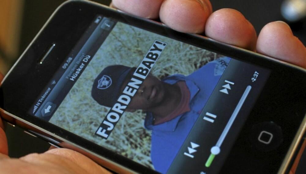Slik ser Spotify ut på vår iPhone. For anledningen spiller vi selvsagt norsk musikk.