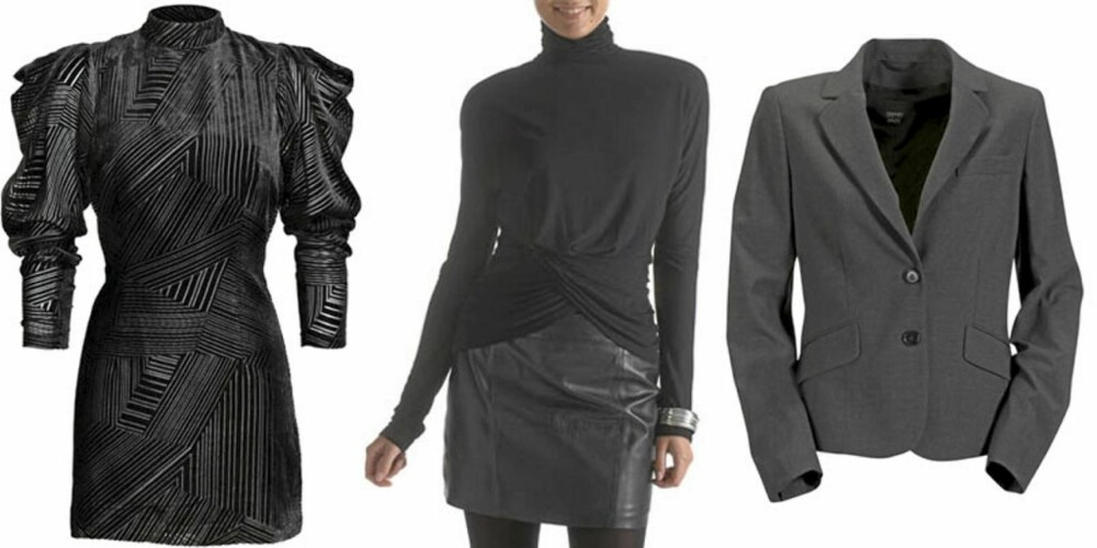 HØSTMOTEN: Plagg fra høstkolleksjoner. Til venstre kjole fra H&M til 499 svenske kronor. I midten en topp fra Laredoute.no til 199 kroner og til høyre jakke med skulderputer fra Ellos til 1199 kroner.