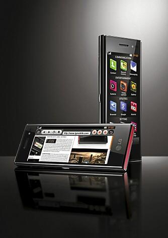 STILIG: LG BL40 har fått et avlangt og stilig design. På mange måter er den stiligere og mer elegant enn iPhone.