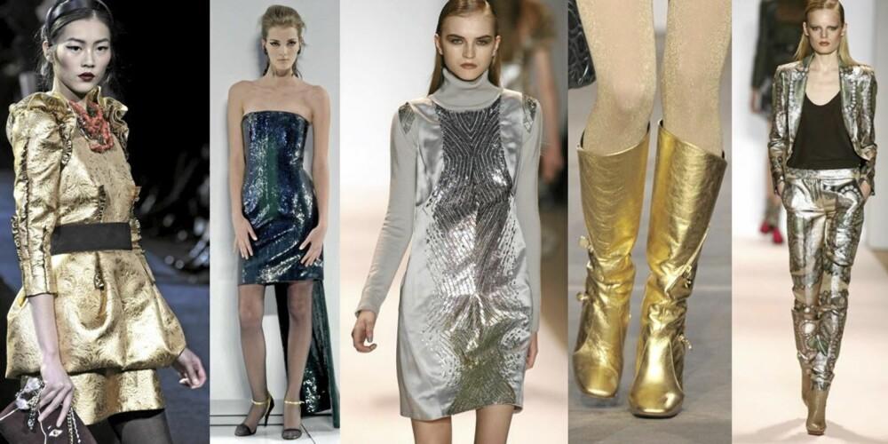 PALJETTER OG METALL: Det skinner og glitrer på catwalken. Her fra Dolce & Gabbana, Chanel, Matthew Williamson, Chanel og Matthew Williamson.