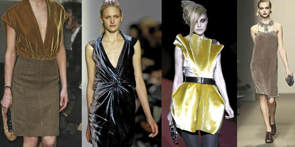 FLØYEL: Prada, BCBGMAXAZRIA, Marc by Marc Jacobs og Bottega Veneta var noen av designerne som viste fløyelsstoffer på catwalken.