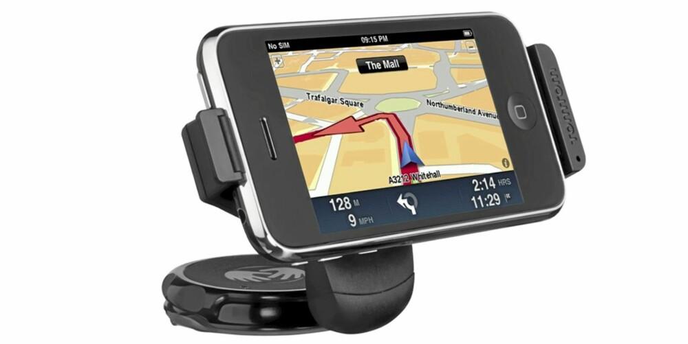 VENT: TomTom på iPhone er en veldig god ide. Dessverre fungerer det ikke ennå til bilnavigasjon. Det kan være en ide å vente til til den nye bilholderen med egen GPS kommer på markedet.