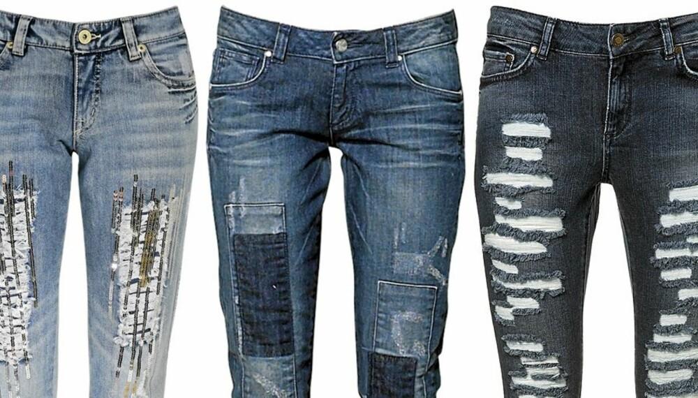 HØSTENS TRENDER: Glamour, lapper og ødelagte jeans preger motebildet i høst.