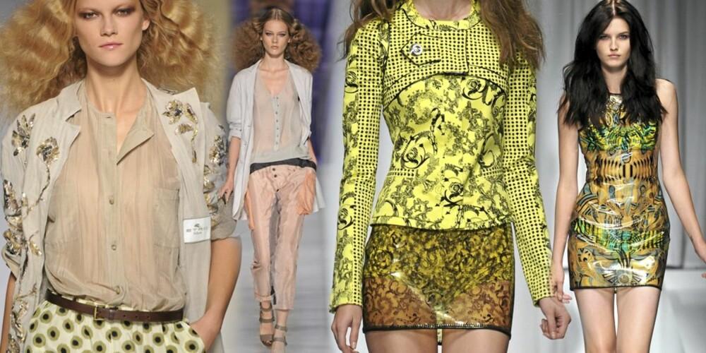 GJENNOMSIKTIG: Både Etro (til venstre) og Versace viste hver sine varianter av gjennomsiktige plagg på vårvisningene for våren 2010.