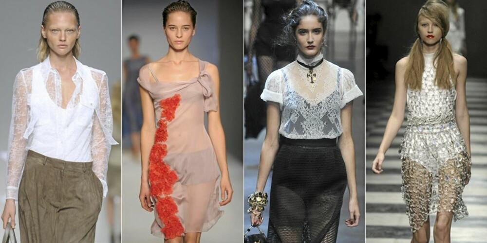 VÅRMOTE ANNO 2010: Mye transparente klær fra catwalken i Milano. Fra venstre Max Mara, Alberta Ferretti, Dolce & Gabbana og Prada.