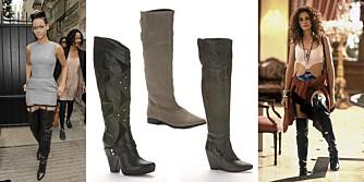 TRENDY: Både Julia Roberts og Rihanna bruker knehøye boots. En på 90-tallet og en på 2000-tallet.