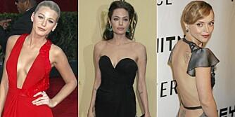 FESTFIN: Blake Lively, Angelina Jolie og Christian Ricci i kjoler som gir utfordringer til undertøyet.