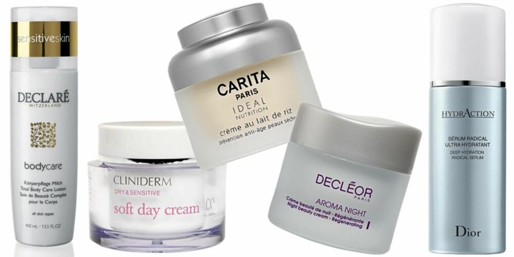 FRA VENSTRE: Declaré Total Body Care Lotion (kr 195), Cliniderm Soft Day Cream (kr 164,50), Carita Ideal Nutrition Rice Cream (kr 890), Decléor Aroma Night Regenerating (kr 698), Dior HydrAction serum (kr 680).