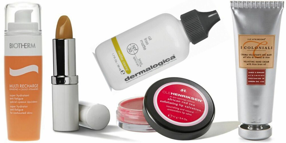 FRA VENSTRE: Biotherm Multi Recharge Super Hydrater med SPF 15 (kr 460), Elizabeth Arden Eight Hour Cream Lip Protectant Stick med SPF 15 (kr 200), Dermalogica Oil Free Matt med SPF 30 (kr 690), Ole Henriksen African Red Tea Exfoliating LIp Salvation (kr 220), I Colonial Velveting Hand Cream (kr 99).