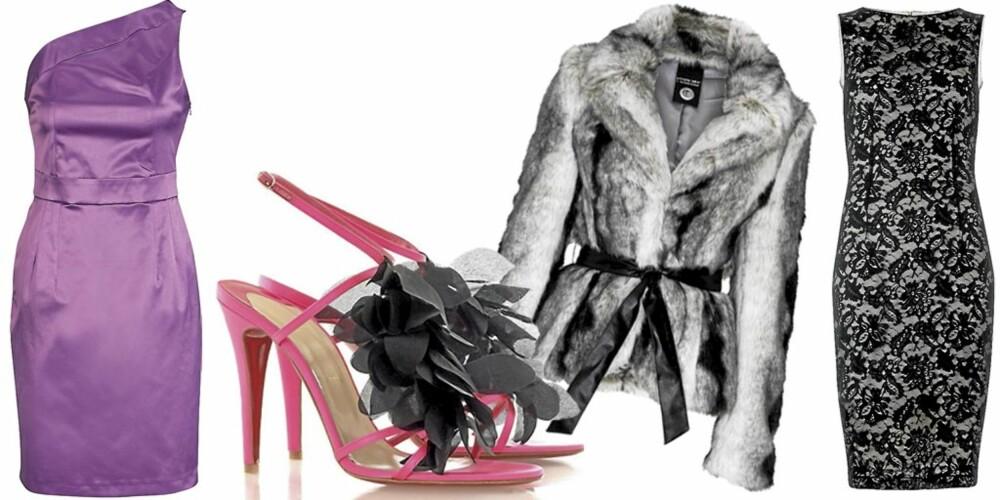 FRA VENSTRE: Rosa kjole fra Ellos (kr 299), partysko med fjær fra Christian Louboutin/Net-a-porter (ca. kr 5600), fuskepels fra Cubus (kr 699), blondekjole fra Mango (kr 599).