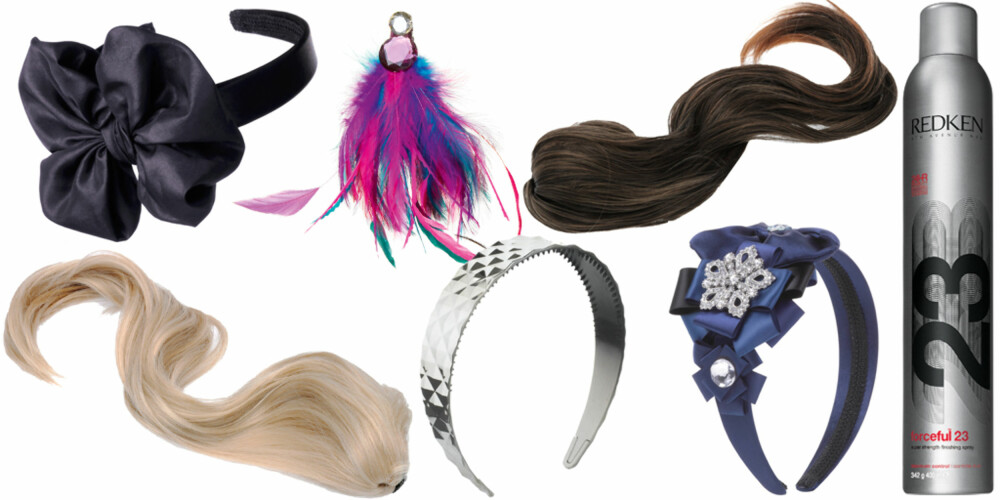 FRA VENSTRE: Blondt løshår fra Glitter (kr 249), diverse hårpynt fra Accessorize (fra kr 89 tilkr 370), brunt løshår fra Glitter (kr 249), Redken Forceful 23 fikseringsspray (kr 260).